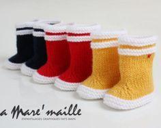 Botte de pluie bébé en laine La Mare'maille hommage à la marque Aigle, inspirées du modèle Lolly Pop