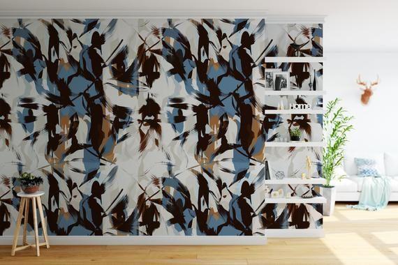 Removable Peel And Stick Wallpaper Graffiti Modern Abstract Etsy Peel And Stick Wallpaper Wallpaper Vinyl Wallpaper