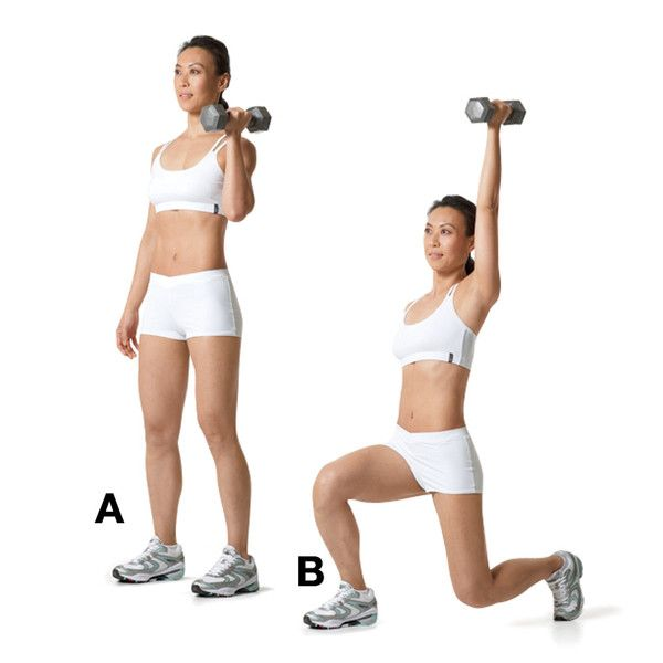 the reverse lunge with side arm press