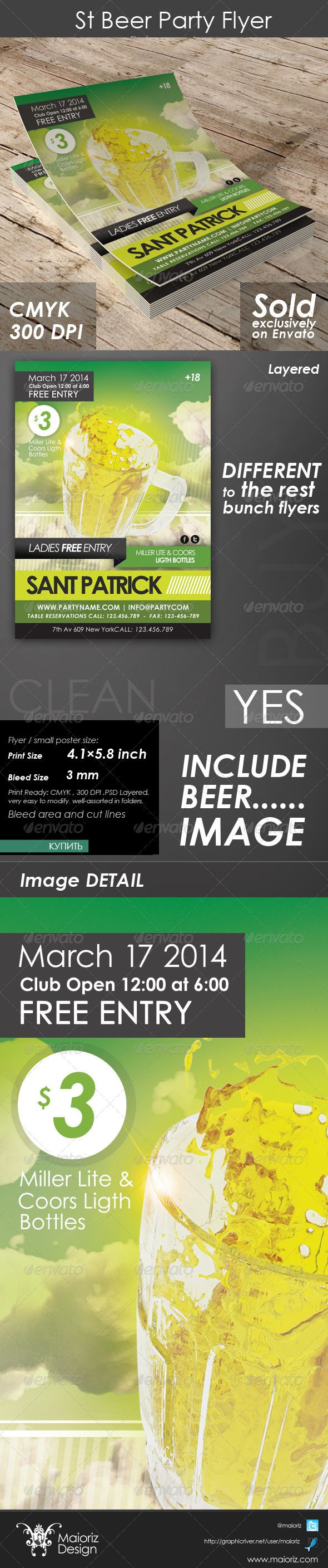 St Beer Party Flyer $6 – #SaintPatrick #Beer #Club #Disco #Pub #Bar #Event #Flye…