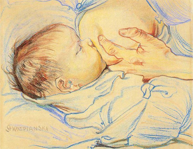 Stanisław Wyspiański Macierzyństwo - dziecko przy piersi 1899