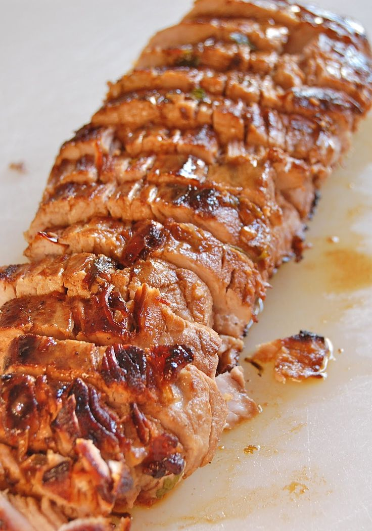 Pork Tenderloin - so good! The pan sauce is what it is all about. Dip your bread in it!!! (marinated in olive oil, soy sauce, red wine vinegar, lemon juice, Worcestershire sauce, parsley, dry mustard, pepper and garlic)