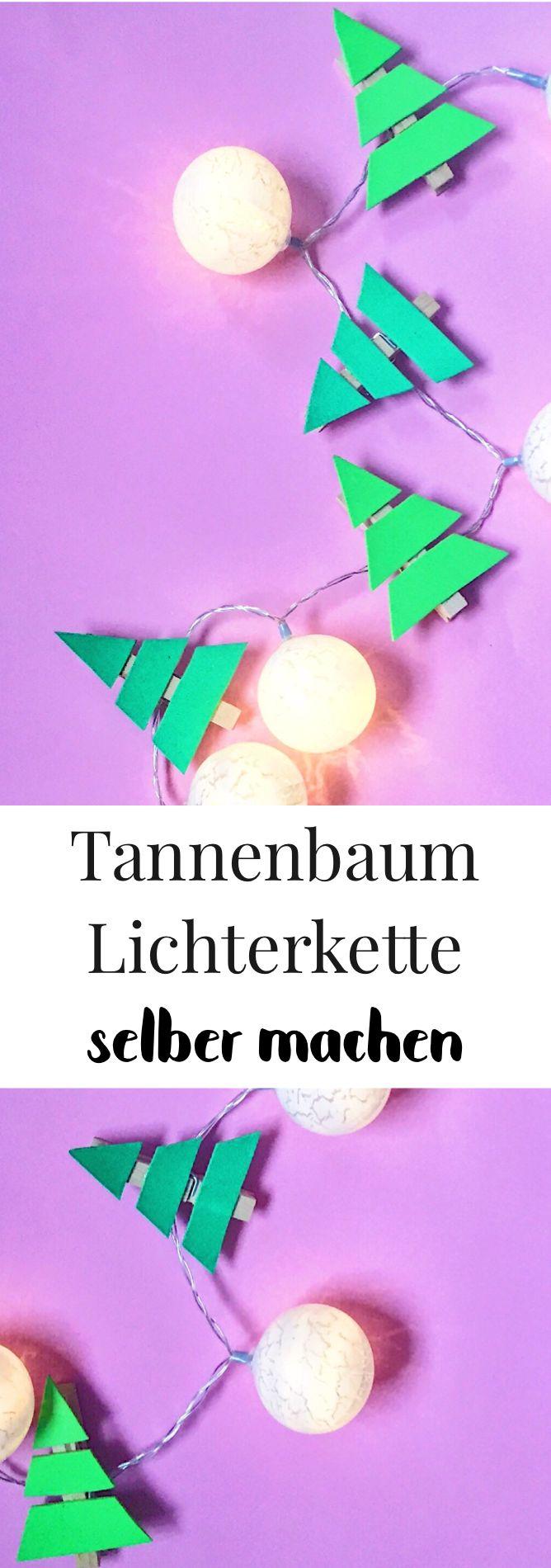 Weihnachtsdeko basteln. Deko für Weihnachten selber machen. DIY Lichterkette mit Tannenbäumen aus Moosgummi und Wäscheklammern basteln. Schöne Dekoration zum selber basteln für das Wohnzimmer oder für den Christbaum. Weihnachtsdeko basteln leicht, einfach und günstig. Auch für das Basteln mit Kindern geeignet.