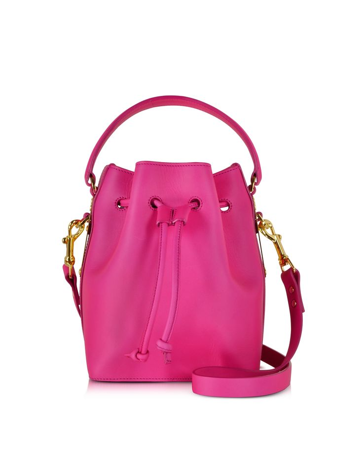 Sophie Hulme Fuchsia Small Drawstring Bucket bag at FORZIERI