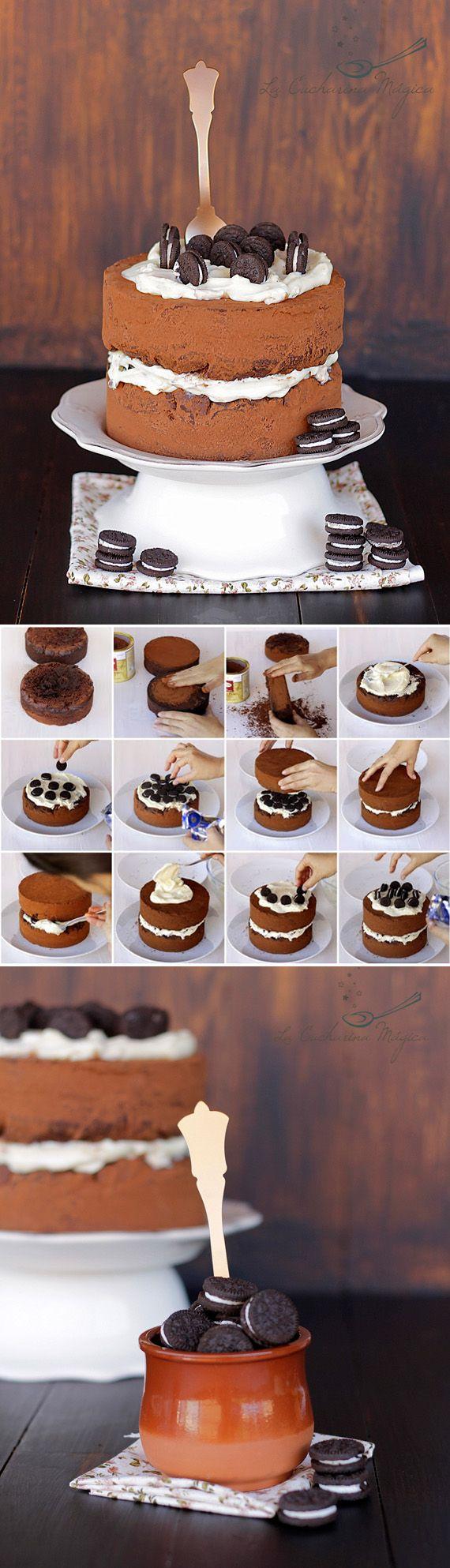 Tarta de galletas Oreo y crema de queso / http://www.lacucharinamagica.com/
