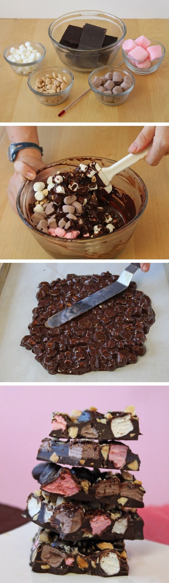 Neapolitan Rocky Road Bars Recipe - Way to get your sugar level high!