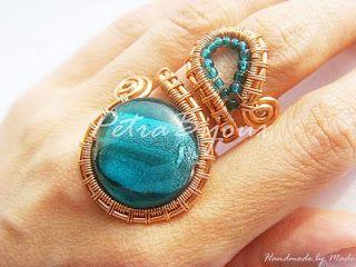 Petra Bijoux: Lagoon Breeze - ring tipi bakır Murano cam boncuklar