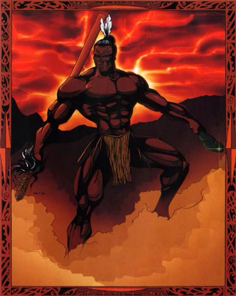 Tumatauenga- Maori myth: the god of war and balance. He is the ancestor of humankind. He subdued his brothers that represent animals and the earth except his brother of the storms. Humans now war because he set the example.