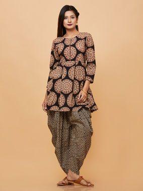 ef4f3e0175 Black Beige Block Printed Cotton Kurta with Dhoti Pants - Set of 2 ...