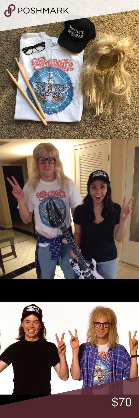 Wayne and Garth Costume from Wayne's World Great Halloween Costume! Includes - Wayne's World hat, Garth shirt, Garth wig, Garth glasses, Drumsticks. Just need some old blue jeans and a black shirt to complete the look. Hat is adjustable. Shirt is a Men's Large that fits both Medium and Large. Tops Tees - Short Sleeve