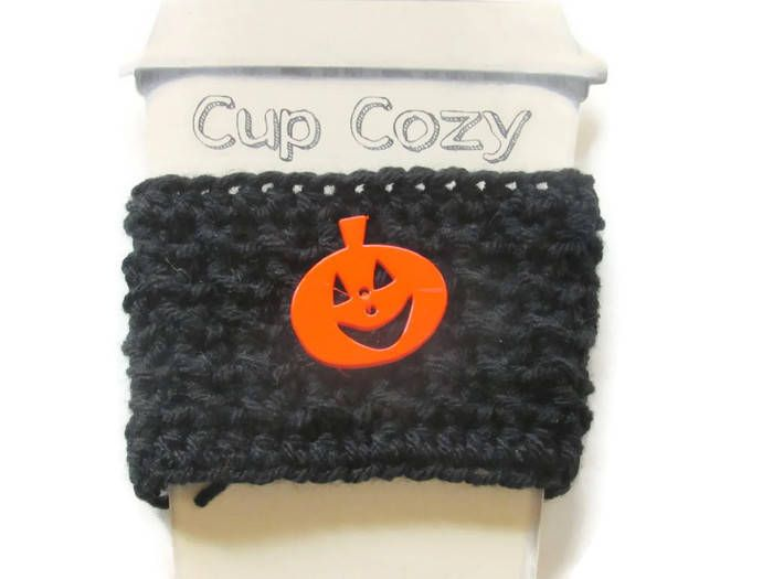 Crocheted Halloween Coffee Cup Cozy - Crocheted Halloween Cup Sleeve - Crocheted Cup Warmer With Pumpkin Button by GrandmaLindasHouse on Etsy