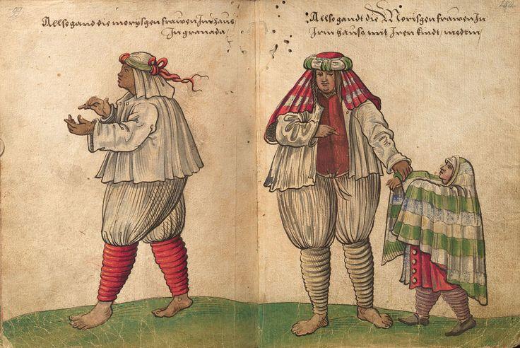 """""""Traje de casa de las mujeres y niñas moriscas de Granada"""". Dibujo de Christoph Weiditz (1529)"""