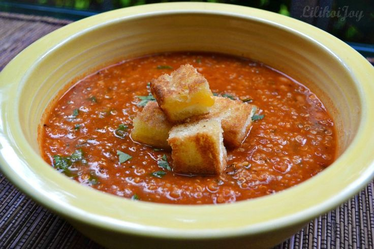 You had me at grilled cheese croutons! spicy tomato quinoa soup with ...