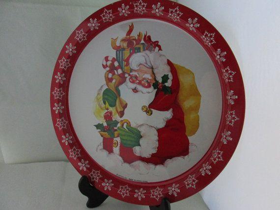 TRÈS Jolly Santa ronde plateau alimentaire portion apéritif plaque biscuits de Noël père Noël vacances Decor vacances Noël plateau d'étain