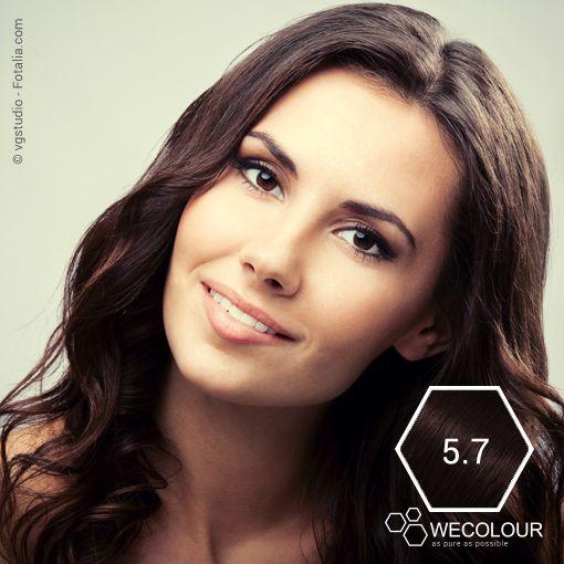 Chocolade bruin doet het altijd goed. Mooie, warme diepbruine kleur. #5.7 #haarverfzonderammonia