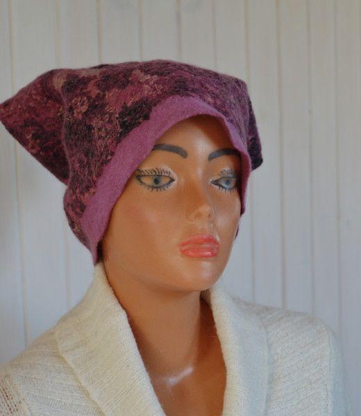 czapka z filcu,  jedwab, czapka  wełniana, ciepła - JustKa313 - Czapki