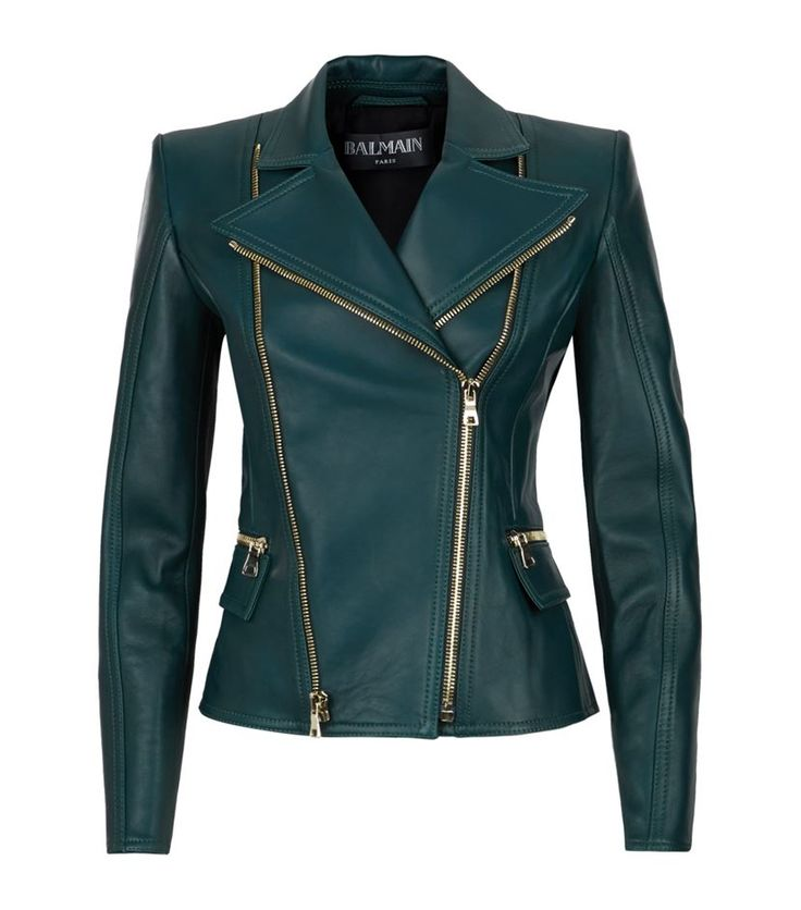 Balmain Biker Jacket in green