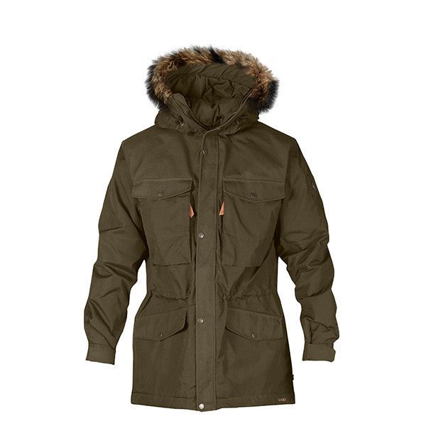 Lightly padded trekking jacket with a long traditional cut, and removable faux fur trim on hood. .