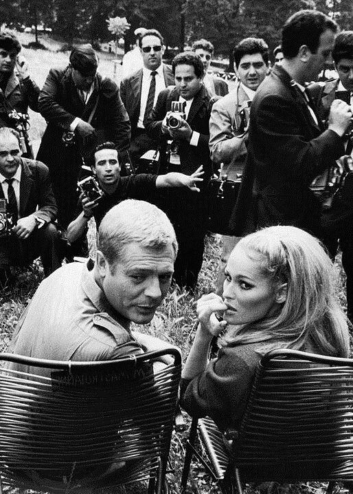 Marcello Mastroianni and Ursula Andress on the set of La Decima Vittima, 1965