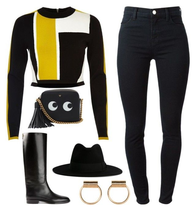 """Go"" by kimeechanga ❤ liked on Polyvore featuring J Brand, River Island, Yves Saint Laurent, Tom Ford and Anya Hindmarch"
