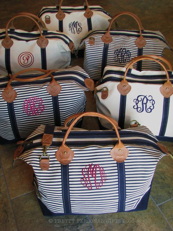 Weekender Bag - This large striped canvas weekender bag is great for travel and can be personalized with a name or monogram. This personalized duffle bag offers superior quality, heavy metal fittings and real leather trim. Great gift for any traveler. This listing is for one navy, pink or gray striped weekender bag with genuine leather handles and trim. We have other pieces that match this weekender bag. Please contact us for matching pieces or search our Etsy shop. *PINK STRIPE WEEKENDER…