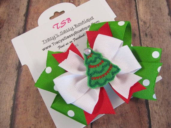 402 Best CHRISTMAS HAIRBOWS Images On Pinterest Crowns Hairbows  - Christmas Tree Hair Bows