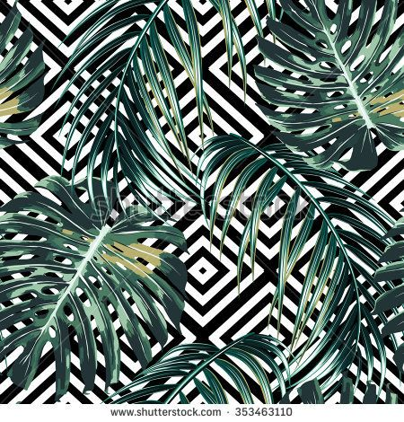 Tropical palm leaves, jungle leaves, beautiful seamless vector floral pattern background. Abstract striped geometric texture