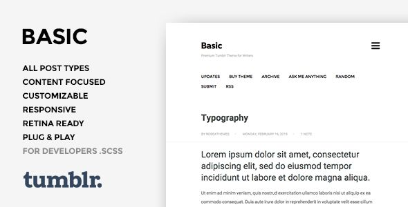 Basic 3 - One Column, Blogging Tumblr Theme . Basic is an unique, minimalistic, single column and clean premium tumblr theme. The best choice for bloggers, artists, photographers and