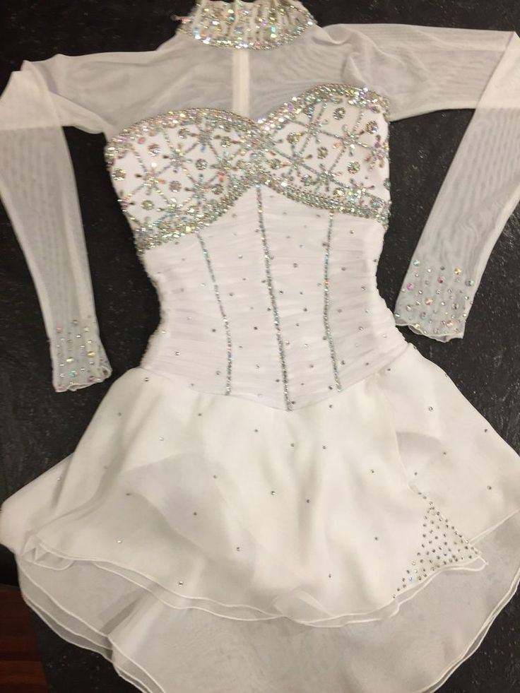 TANIA BASS Beautiful White Beaded Competition Figure Skating Dress  | eBay