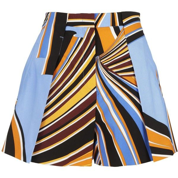 Printed a Line Shorts (£345) ❤ liked on Polyvore featuring shorts, emilio pucci, blue shorts, pleated shorts, emilio pucci shorts and a-line shorts