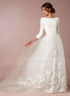 A-Line/Princess Scoop Neck Sweep Train Tulle Jersey Wedding Dress With Appliques Lace (0025088662) - Vbridal