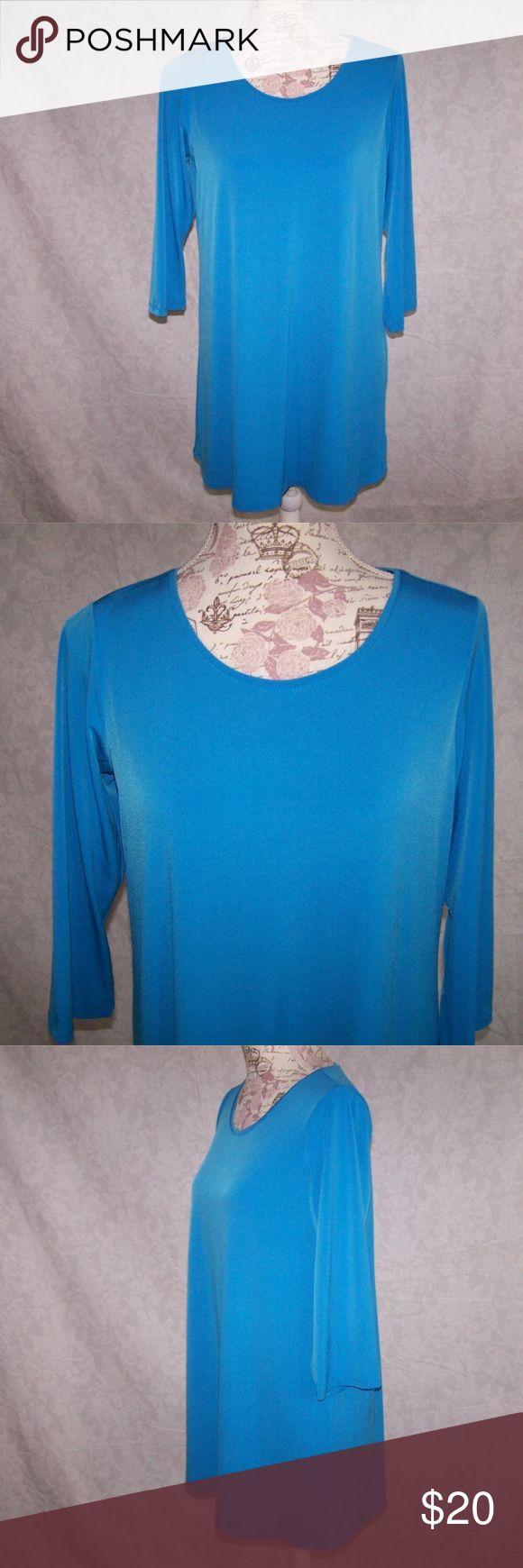 "SUSAN GRAVER Tunic Top S Liquid Knit Stretch Susan Graver size small tunic top 3/4 sleeves stretchy blue  95%  polyester  5%  spandex machine wash  bust  38"" length  30"" sleeve length 17""  very nice Susan Graver Tops Tunics"