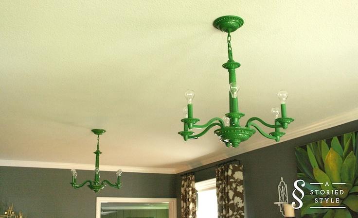John Deere Light Fixture : Existing light fixtures painted with rustoleum s john