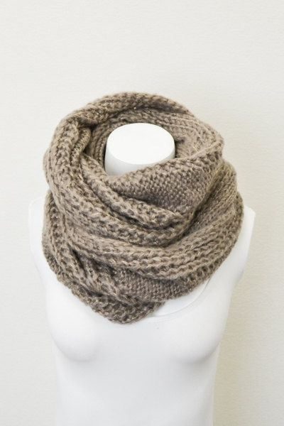 Chunky Cable Knit Infinity Scarf  Olive Green  by LePetitMonkey, $32.00