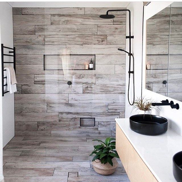 Washed Timber Tiled Feature Wall With Niche And Floor With Tile Insert Waste Matte Black Rail Show Bathroom Feature Wall Best Bathroom Designs Scandi Bathroom