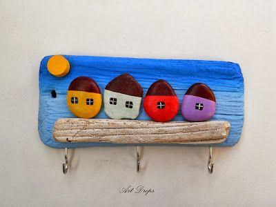 galets - murale sur bois