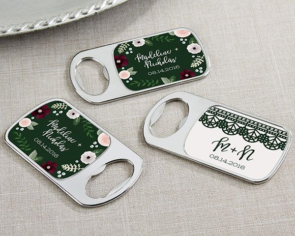 Personalized Bottle Opener with Epoxy Dome - Romantic Garden #bottleopener #partyfavors #wedding