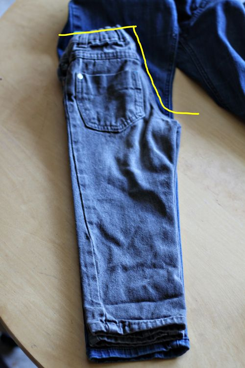 great tutorial on turning adult pants into toddler pants and having them look right