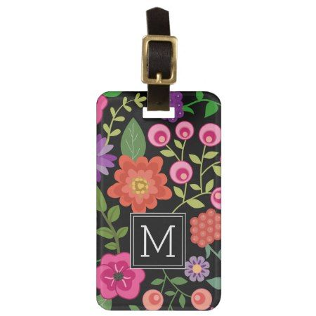 Trendy Black Floral Pattern with Custom Monogram Luggage Tag - click/tap to personalize and buy #pattern #patterns #illustrations #illustration #gift #gifts #giftideas #giftforher #monogram #monogrammed #initials #flower #floral #botanical #abstract