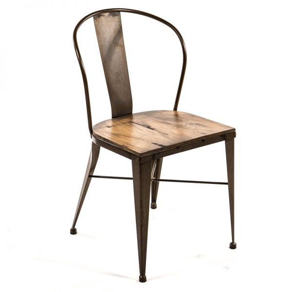 Chaise industrielle en bois et métal - 313