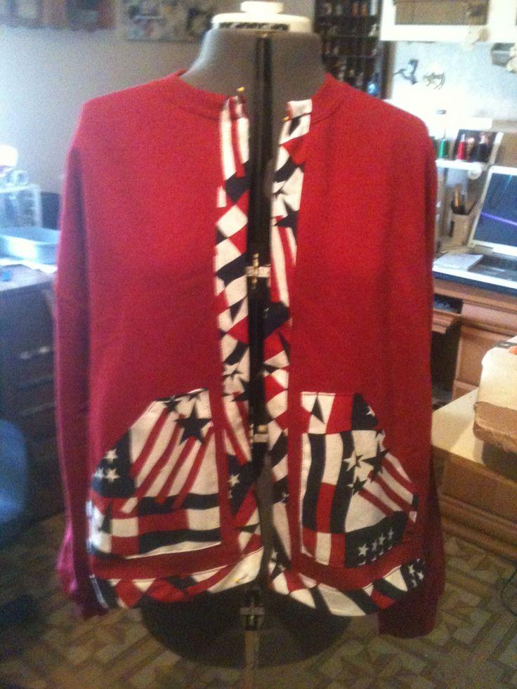 Sweatshirt made into a jacket Trim  Pockets added