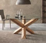 Voglio un #tavolo in #vetro rotondo ma con la base in #legno di abete antico. Voglio #Restar, il tavolo dal #design inconfondibile.  Lo trovi su www.italianArredo.it alla sezione dei Tavoli Rotondi e ovali.