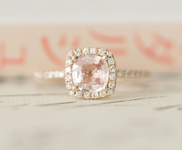 Peach Pink Cushion Sapphire Diamond Halo Engagement Ring 14K Rose Gold: 14K Rose, Cushions Sapphire, Diamonds Halo, Pink Cushions, Rings 14K, Sapphire Diamonds, Peaches Pink, Halo Engagement Rings, Rose Gold
