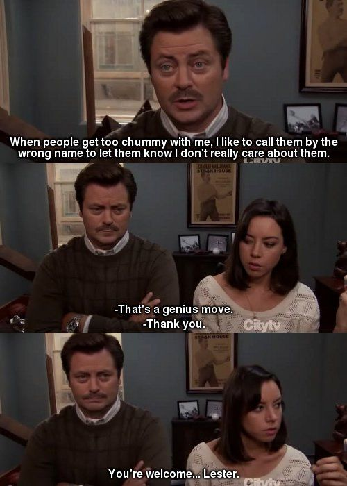 Parks n Rec. Ron Swanson and April