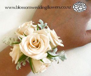 Auckland Wedding Flower Gallery 2: BH061 - Cream Rose Wristlet Corsage