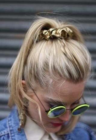 Neon rim sunnies. Noticed the 1990s Gold Scrunchie :)