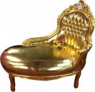 Barock Kinder Chaiselongue Gold/Gold Lederoptik - Tron Barock Möbel – Bild
