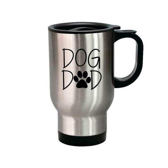 Best Father Personalized 14 oz Metal Car Coffee and Tea Travel Mug for Hot Drinks