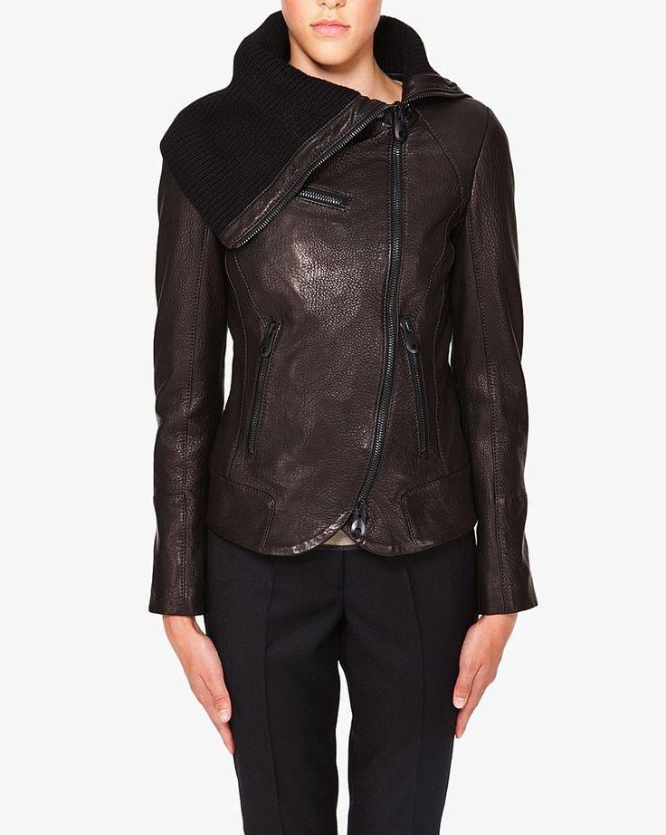 Viktor and Rolf $2785 Black Knit Moto Leather Jacket 40 4 APC  #ViktorRolf #BasicJacket