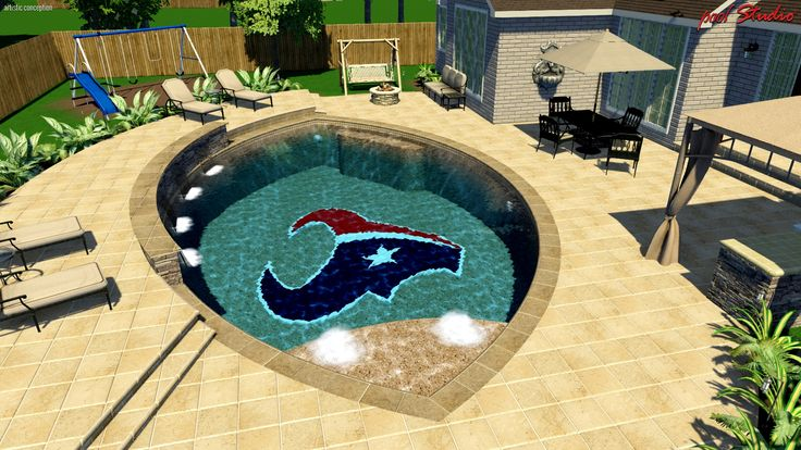 Custom Texans Pool Design Pool Designs 3d Renderings